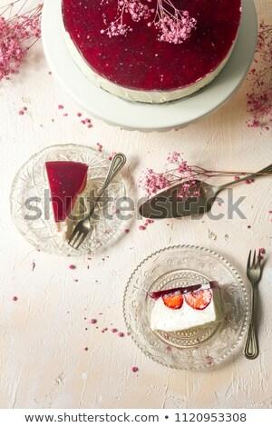 Strawberry cheesecake kahve lezzetli ev yapımı çiçekler beyaz Stok fotoğraf © Melnyk