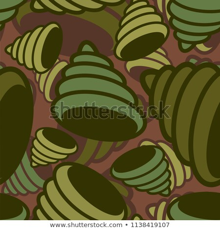 Stock photo: Shell sea military pattern seamless. conch Khaki soldiery textur