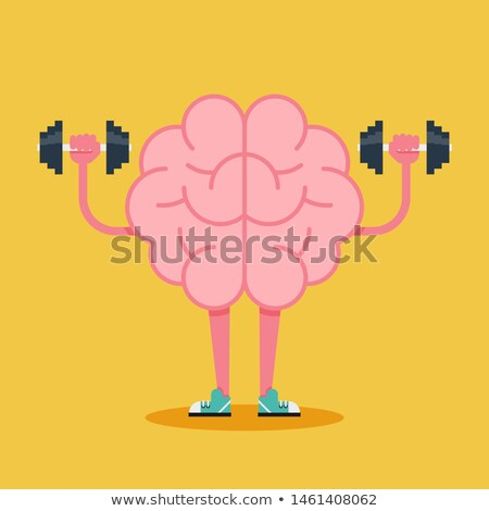Brain training with dumbbells, mind workout. Vector Stock photo © Andrei_