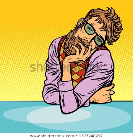 funny romantic thinker man hipster Stock photo © studiostoks