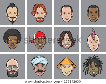 афро · американский · человека · профиль · набор · вектора - Сток-фото © studiostoks