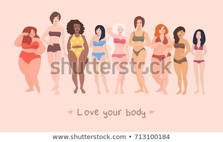 Vücut pozitif artı boyutu kadın ayna pozitifliği Stok fotoğraf © RAStudio