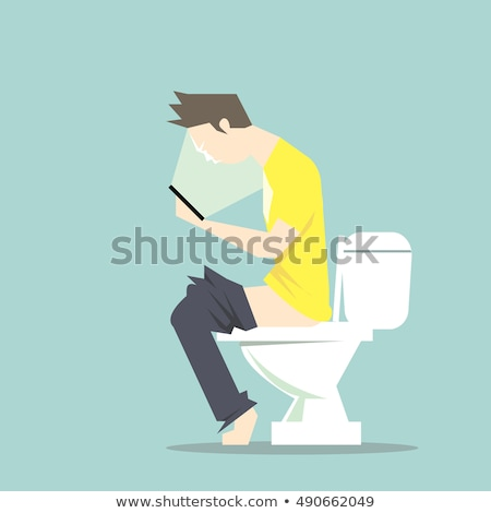 young man using his smartphone in the toilet Stock photo © nito