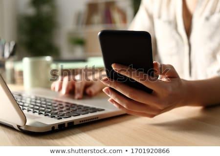 sério · feminino · freelance · trabalhando · computador · portátil · escritório · em · casa - foto stock © dolgachov