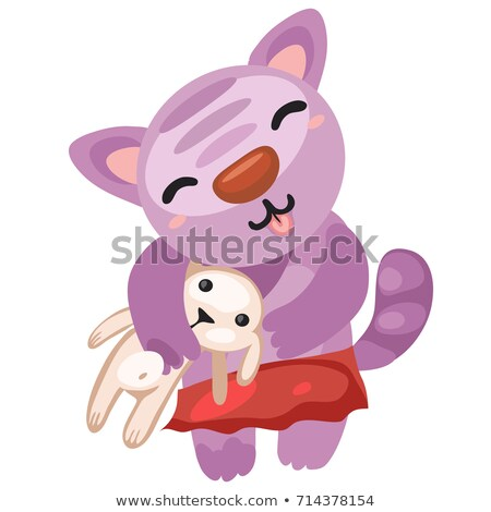 Cute kitty holds the toy rabbit isolated on white background. Vector cartoon close-up illustration. stock photo © Lady-Luck