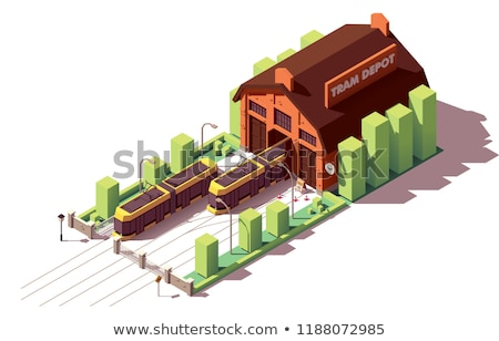 vector isometric tram depot building stock photo © tele52