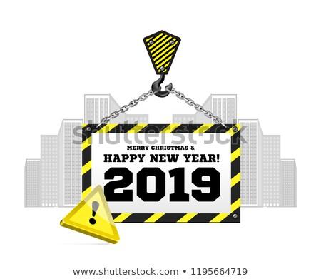 Glückwünsche Neujahr Bau Kran Gebäude Stadt Stock foto © m_pavlov