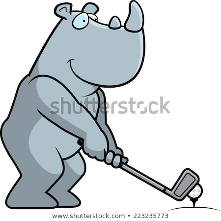 Cartoon Rhinoceros Golfing Stock photo © cthoman