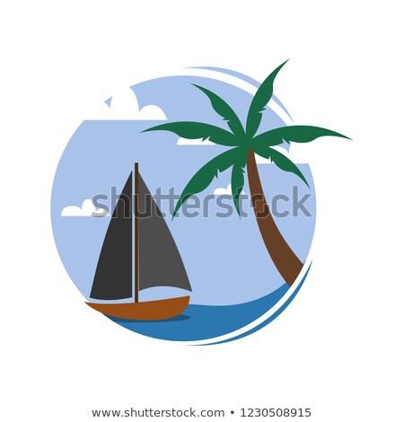 Cartoon · ilustración · pequeño · isla · tropical · océano · cielo - foto stock © svvell