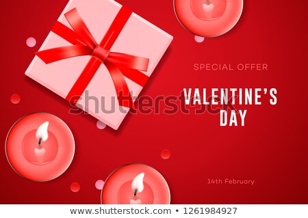 Valentine's day special offer, poster with gift box, candles and confetti. Vector illustration Stock photo © ikopylov