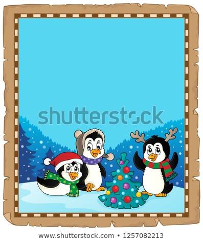 Noel parşömen kâğıt mutlu sanat kış Stok fotoğraf © clairev