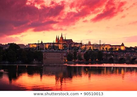 Ardiente puesta de sol Praga puente río cielo Foto stock © Givaga