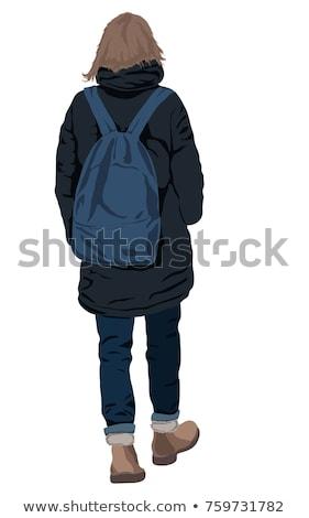 Arkadan görünüm genç kadın sonbahar kat şapka yürüyüş Stok fotoğraf © deandrobot