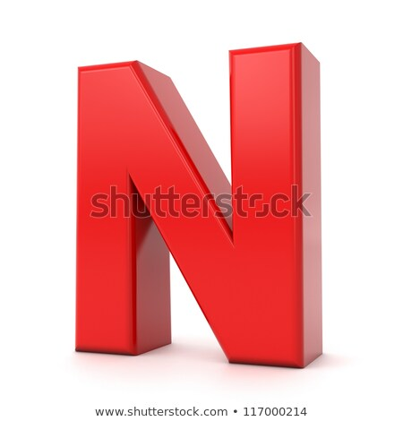 Red glossy font Letter N 3D Stock photo © djmilic