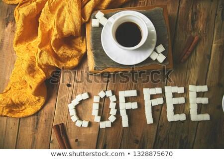 egy · csésze · kávé · eszpresszó · cukor · kocka - stock fotó © Illia