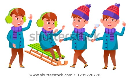 Boy Set Vector. Happy Childhood. Winter Holidays. For Web, Poster, Booklet Design. Isolated Cartoon  Stock photo © pikepicture