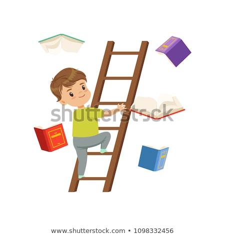 children climbing up the wooden ladders stock photo © colematt
