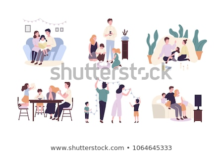 Happy Family Child Parents Vector Illustration Stock photo © robuart