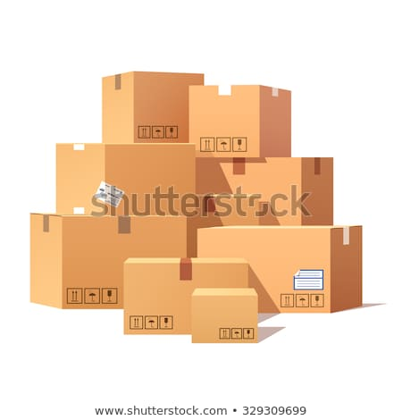 Stock photo: Pile Parcel Cardboard Boxes Stacked Sealed Goods