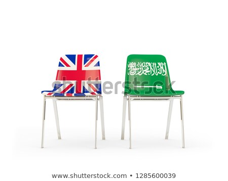 Two chairs with flags of UK and saudi arabia isolated on white Stock photo © MikhailMishchenko