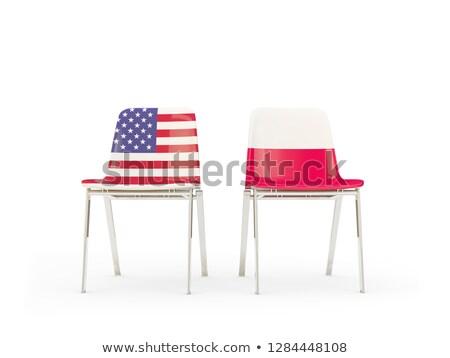 Iki sandalye bayraklar Polonya yalıtılmış beyaz Stok fotoğraf © MikhailMishchenko
