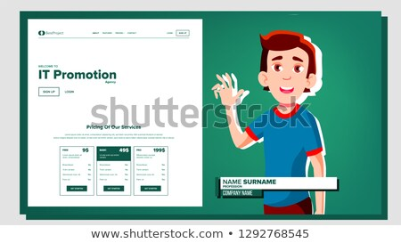 Self Presentation Vector. Caucasian Male. Introduce Yourself Or Your Project, Business. Illustration Stock photo © pikepicture
