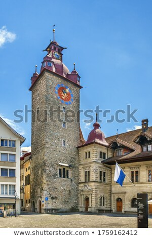 Rathaus Clock Tower in Lucerne, Switzerland Stock photo © boggy