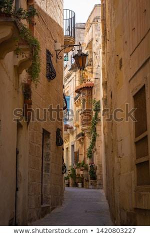 Fasada tradycyjny kolorowy Malta balkon Zdjęcia stock © boggy