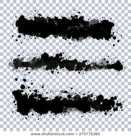 fekete · szett · papír · festék · művészet · sziluett - stock fotó © adamson