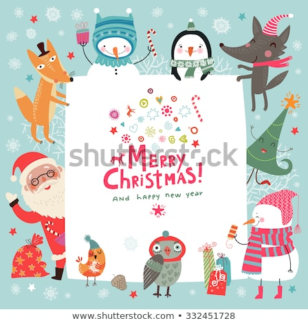 Christmas card with cute snowman and wishes Stock photo © balasoiu