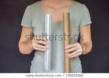 Zero waste concept. Use a plastic or paper bag. Zero waste, green and conscious lifestyle concept Stock photo © galitskaya