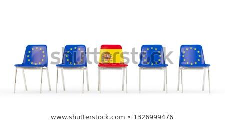 Rząd krzesła banderą eu Hiszpania odizolowany Zdjęcia stock © MikhailMishchenko