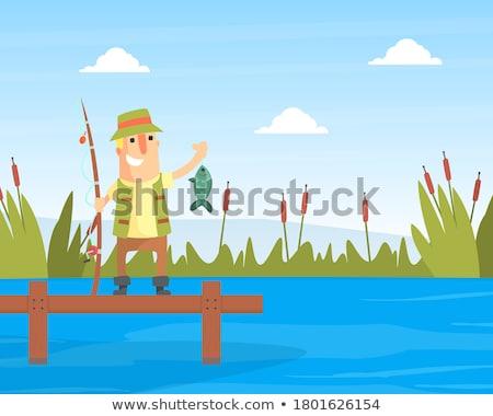 Fishing Men on Wooden Pier Vector Illustration Stock photo © robuart