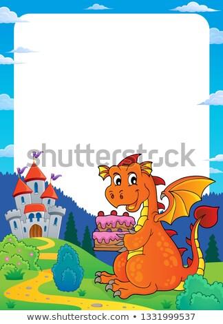 Dragon holding cake theme frame 2 Stock photo © clairev
