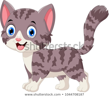cute gray cat cartoon animal character Stock photo © izakowski