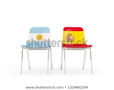 два стульев флагами Аргентина Испания изолированный Сток-фото © MikhailMishchenko