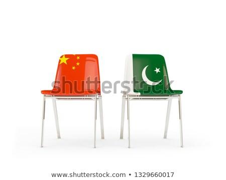 Twee stoelen vlaggen China Pakistan geïsoleerd Stockfoto © MikhailMishchenko