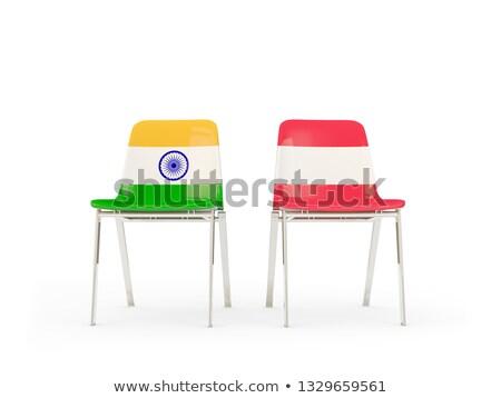 Dwa krzesła flagi Indie Austria odizolowany Zdjęcia stock © MikhailMishchenko