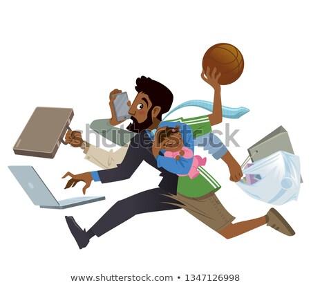 Cartoon super busy black man and father multitasking in work Stock photo © Thodoris_Tibilis