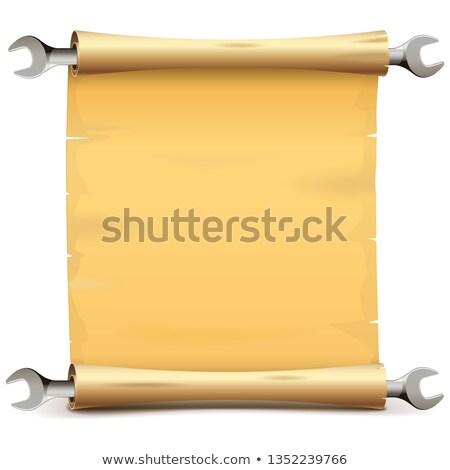 Vektor Papier blättern Schraubenschlüssel isoliert weiß Stock foto © dashadima