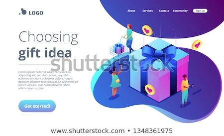 choosing gift idea isometric 3d landing page stock photo © rastudio