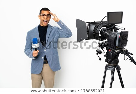 Noticias reportero blanco ilustración diseno fondo Foto stock © colematt