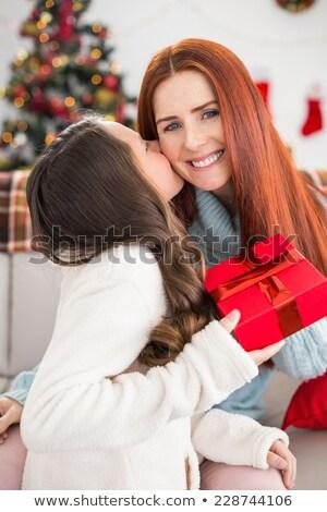 moeder · dochter · kerstboom · vakantie · christmas · familie - stockfoto © dolgachov
