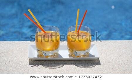 üveg fényes tequila napfelkelte koktél medence Stock fotó © dashapetrenko