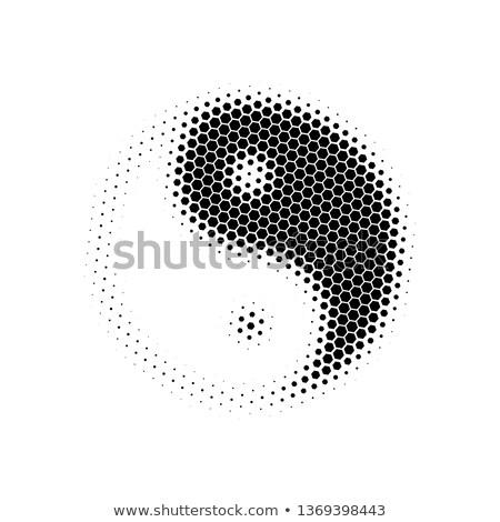 Halftone hexagonal Yin Yang icon. Vector illustration isolated on white background stock photo © kyryloff