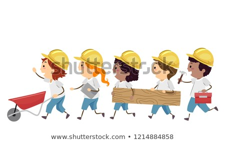 doodle · kid · regenjas · illustratie · meisje - stockfoto © lenm