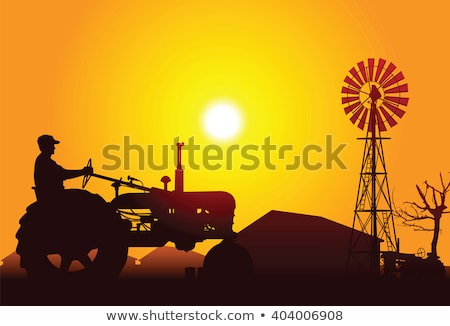 Tracteur domaine sunrise coucher du soleil terres semailles Photo stock © simazoran