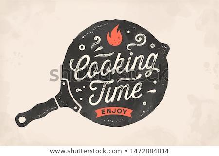 Főzés idő konyha poszter fal dekoráció Stock fotó © FoxysGraphic