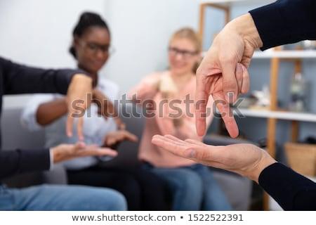 женщину преподавания глухой жест знак молодые Сток-фото © AndreyPopov