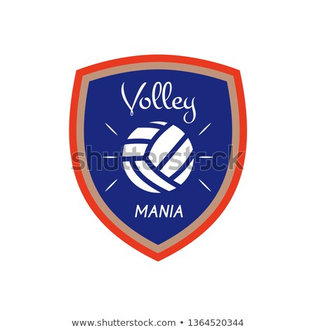 volleyball logo template badge volley mania with ball colorful label design for sports events or stock photo © jeksongraphics